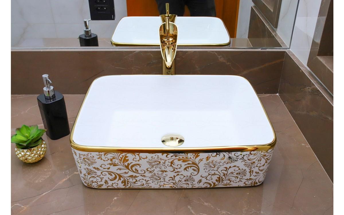 Cuba De Apoio Em Ceramica Para Lavabos E Banheiros Branca E Dourada Premium Lms Mk 1034gf Ceramica Cubas Para Banheiro