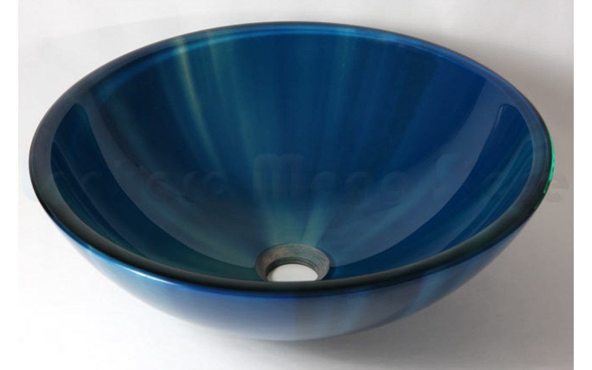 Cuba De Vidro Redonda Para Lavabos E Banheiros Azul Com Detalhes Lms Ck16 Azul Cores Cubas Para Banheiro