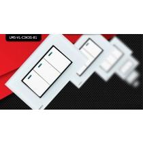 Espelho Livolo com Interruptor de 3 Botões Branco - LMS-VL-C3K3S-81