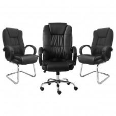 Kit 1 Cadeira Presidente Giratória LMS-BE-8-661 + 2 Cadeiras Interlocutor LMS-BE-8-661-F - Pretas