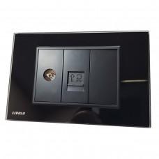 Espelho Livolo com 1 Entrada para TV (IEC / Dvb-t Tv / Pal Jack Fêmea) e 1 Entrada para computador (RJ45) - Preto - LMS-VL-C9-1V1C-12