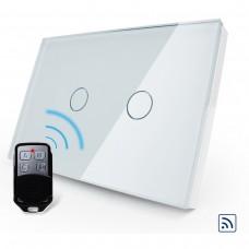 Interruptor Touch Screen com 2 botões com Função Remote e Dimmer - Branco - Livolo - LMS-VL-C302DR-81