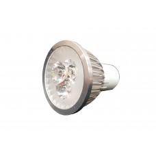 Spot Direcionável com 3 LEDS - bivolt - Branco Quente com Suporte Prata Escovado - MR16