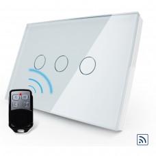 Interruptor Touch Screen com 3 botões com Função Remote - Branco - Livolo - LMS-VL-C303DR-81