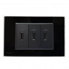 Espelho Livolo com 3 entradas USB - Preto - 2.1A - LMS-VL-C9-3USB-12