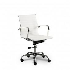 Cadeira Diretor para escritório giratória BRANCA em PU (fibra sintética) - LMS-BY-8-623 - Encosto ondulado
