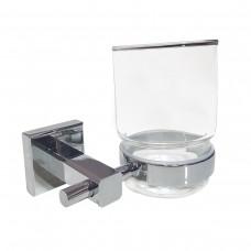 Porta Escova de Dente em Metal Cromado com Base de Vidro - Acabamento Quadrado - LMS-AB8907-1
