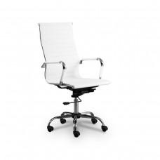 Cadeira Presidente para escritório giratória BRANCA em PU (fibra sintética) - LMS-BY-9-623 - Encosto ondulado