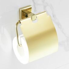 Suporte para Papel Higiênico / Papeleira em Metal Dourado - Acabamento Quadrado - LMS-BMI-AB8908G