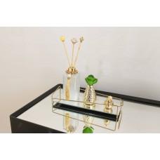Bandeja Espelhada Angulo Golden em Metal Dourado - 10 x 28 cm - LMS-HR-BAG-01028