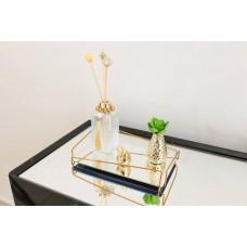 Bandeja Espelhada Angulo Golden em Metal Dourado - 15 x 25 cm - LMS-HR-BAG-01525