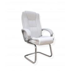 Cadeira Presidente Interlocutor Almofadada para Escritório Branca com Base Fixa - LMS-BY-8-661-1-F