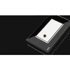 Espelho Livolo Com 1 Entrada P10 Microfone e Acabamento Em Vidro Temperado Preto - LMS-VL-C391P10-82