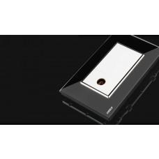 Espelho Livolo Com 1 Entrada IEC / Dvb-t Tv / Pal Jack Fêmea Acabamento Em Vidro Temperado Preto - LMS-VL-C391RCA-82