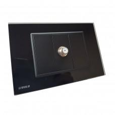 Espelho Livolo com 1 Entrada para TV (Coaxial) - Preto - LMS-VL-C9-1ST-12