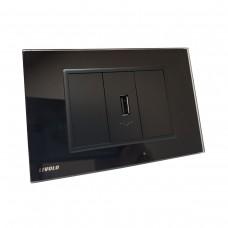 Espelho Livolo com 1 entrada USB - Preto - 2.1A - LMS-VL-C9-1USB-12