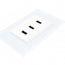 Espelho Livolo com 3 entradas USB Branco 2.1A - LMS-VL-C9-3USB-11