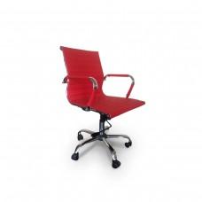 Cadeira Diretor para escritório giratória VERMELHA em PU (fibra sintética) - LMS-BY-8-623 - Encosto ondulado