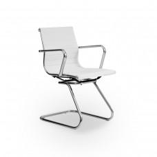 Cadeira Diretor para escritório com Base Fixa BRANCA em PU (fibra sintética) - LMS-BY-8-623-F - Encosto ondulado