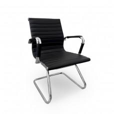 Cadeira Diretor para escritório com Base Fixa PRETA em PU (fibra sintética) - LMS-BY-8-623-F - Encosto ondulado