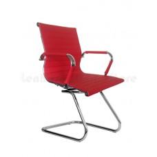 Cadeira Diretor para escritório com Base Fixa VERMELHA em PU (fibra sintética) - LMS-BY-8-623-F - Encosto ondulado