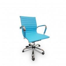 Cadeira Diretor para escritório giratória AZUL em PU (fibra sintética) - LMS-BY-8-623 - Encosto ondulado