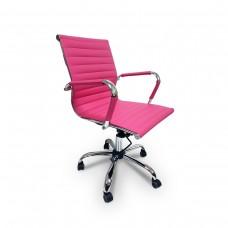 Cadeira Diretor para escritório giratória PINK em PU (fibra sintética) - LMS-BY-8-623 - Encosto ondulado