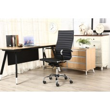 Cadeira Presidente para escritório giratória PRETA em PU (fibra sintética) - LMS-BY-9-623 - Encosto ondulado