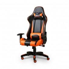 Cadeira Gamer Giratória com Regulagem de Encosto e Braços - Preta e Laranja - Panther - LMS-BY-8-141