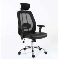 Cadeira Presidente Giratória para Escritório Telada com Apoio de Braços e Cabeça PRETA - LMS-BY-9-350