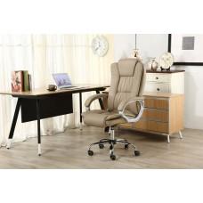 Cadeira Presidente Giratória Almofadada para Escritório Marrom Claro / Taupe / Bege Médio - LMS-BE-8-661-1