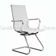 Cadeira Presidente para escritório com base fixa BRANCA em PU (fibra sintética) - LMS-BY-9-623-F - Encosto ondulado