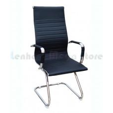 Cadeira Presidente para escritório com base fixa PRETA em PU (fibra sintética) - LMS-BY-9-623-F - Encosto ondulado