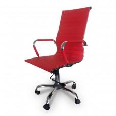 Cadeira Presidente para escritório giratória VERMELHA em PU (fibra sintética) - LMS-BY-9-623 - Encosto ondulado