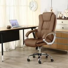 Cadeira Presidente Giratória Almofadada para Escritório Marrom Escuro - LMS-BY-8-661-1