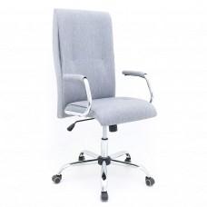 Cadeira Presidente Almofadada Giratória para Escritório - Linho Cinza - Premium - LMS-BL-121640
