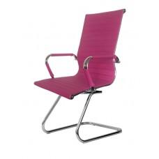 Cadeira Presidente para escritório com base fixa PINK em PU (fibra sintética) - LMS-BY-9-623-F - Encosto ondulado