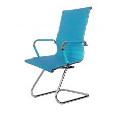 Cadeira Presidente para escritório com base fixa AZUL em PU (fibra sintética) - LMS-BY-9-623-F - Encosto ondulado