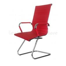 Cadeira Presidente para escritório com base fixa VERMELHA em PU (fibra sintética) - LMS-BY-9-623-F - Encosto ondulado