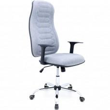 Cadeira Presidente para Escritório Giratória em Couríssimo - Linho Cinza - Premium - LMS-BL-101010