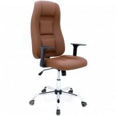 Cadeira Presidente para Escritório Giratória em Couríssimo - Marrom - Premium - LMS-BL-101008