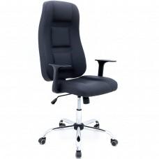 Cadeira Presidente para Escritório Giratória em Couríssimo - Preta Hollow - Premium - LMS-BL-101008