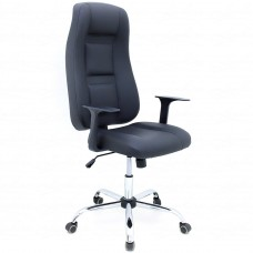 Cadeira Presidente para Escritório Giratória em Couríssimo - Preta - Premium - LMS-BL-101008
