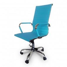Cadeira Presidente para escritório giratória AZUL em PU (fibra sintética) - LMS-BY-9-623 - Encosto ondulado