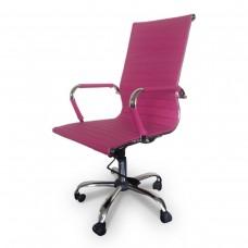 Cadeira Presidente para escritório giratória PINK em PU (fibra sintética) - LMS-BY-9-623 - Encosto ondulado