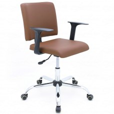Cadeira Secretária Almofadada Giratória para Escritório - Marrom - Premium - LMS-BL-126040