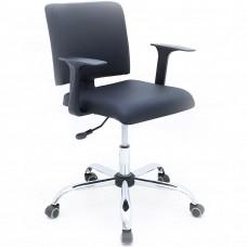 Cadeira Secretária Almofadada Giratória para Escritório - Preta - Premium - LMS-BL-126040