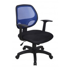 Cadeira Secretária Executiva Telada com Apoio para Braços PRETA / AZUL - LMS-BY-8-326