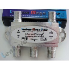 Chave Diseqc 1.0 e 2.0 - 4 x 1 (4x1) - LenharoMegaStore Fabricado por Gecen