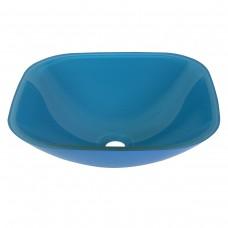 Cuba de Vidro Quadrada para Lavabos e Banheiros - Azul Claro - LMS-CK12